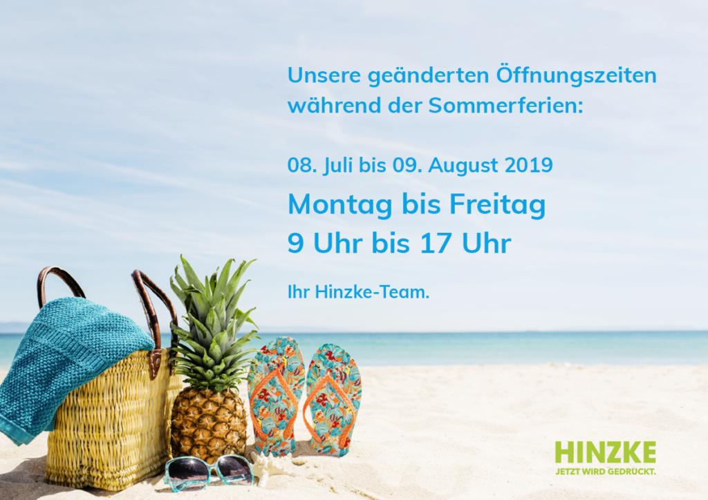 Geänderte Öffnungszeiten ab 08.Juli 2019 über die Sommerferien